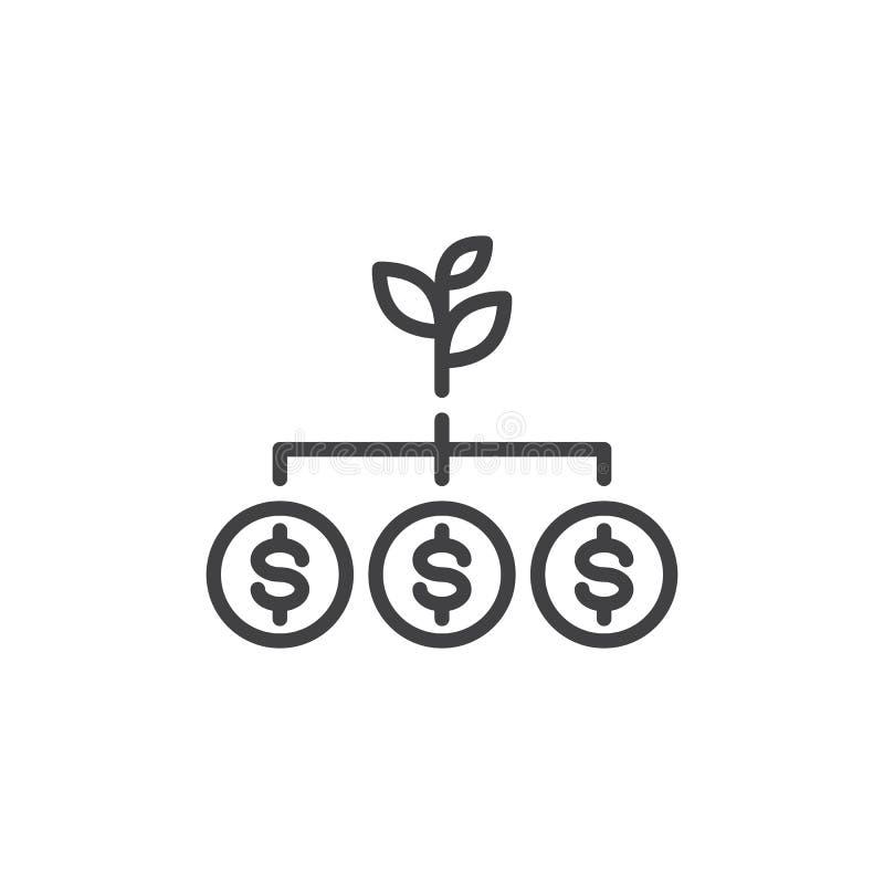 De lijnpictogram van de geldboom royalty-vrije illustratie
