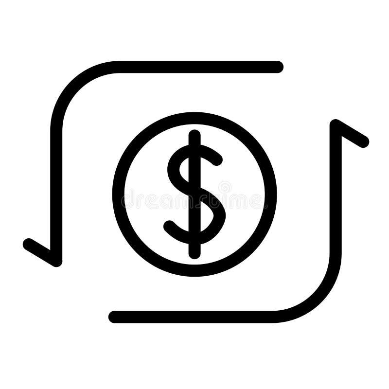 De lijnpictogram van de geldoverdracht Dollarteken met pijlen vectordieillustratie op wit wordt geïsoleerd Het overzichtsstijl va stock illustratie