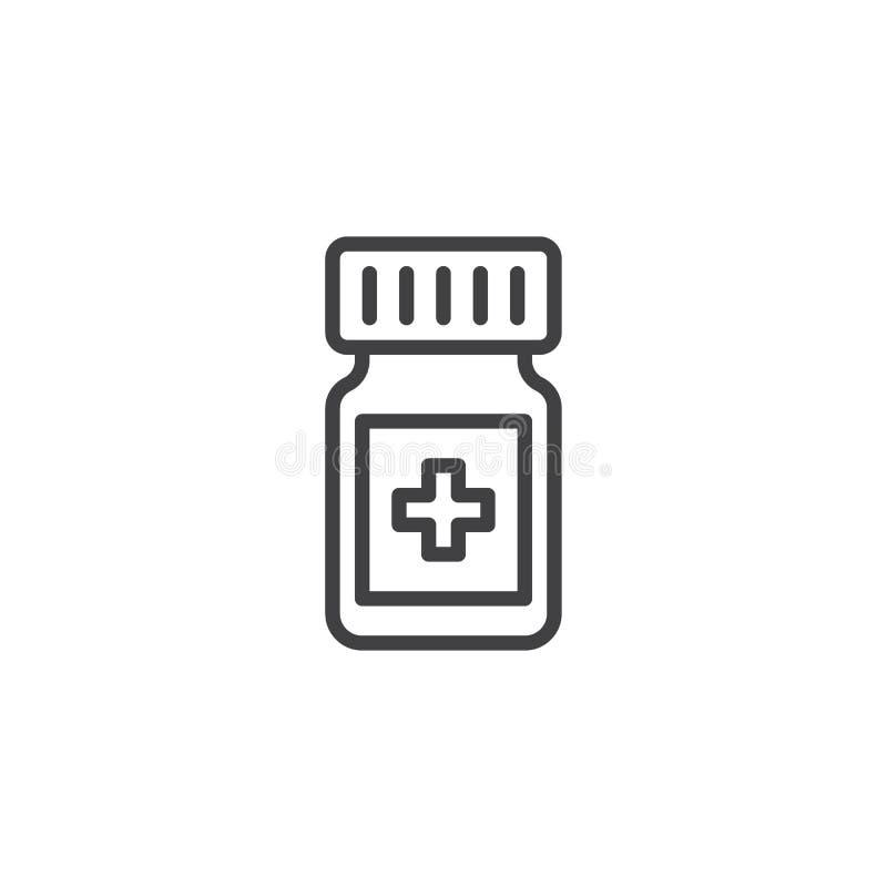 De lijnpictogram van geneeskundedrugs royalty-vrije illustratie
