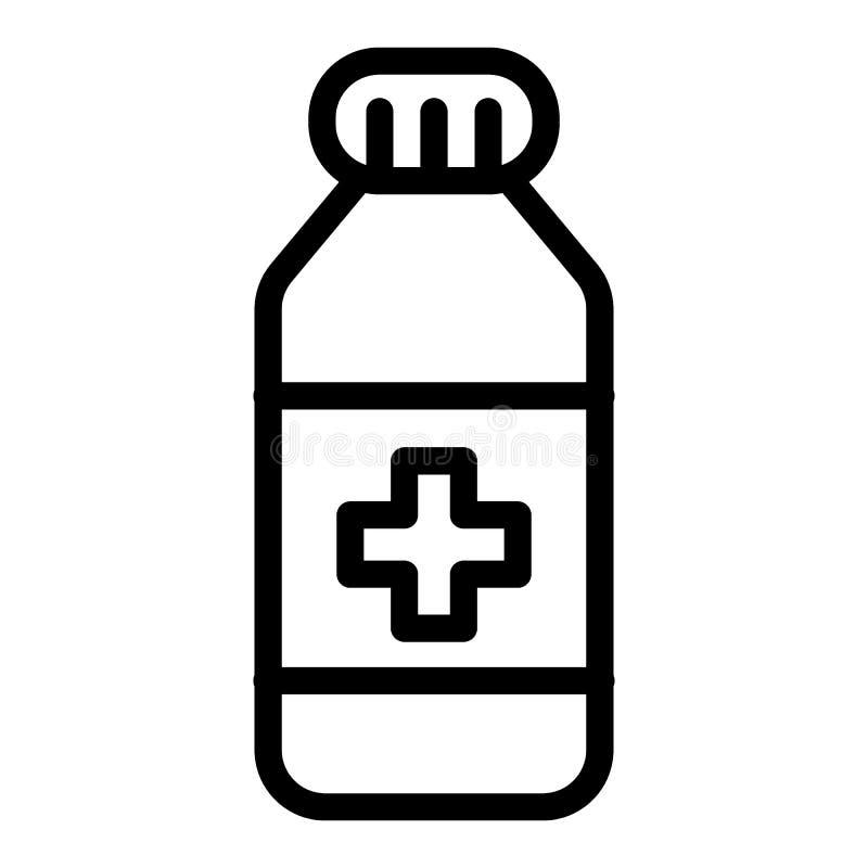 De lijnpictogram van de geneeskundefles Geneesmiddel vectordieillustratie op wit wordt geïsoleerd De stijlontwerp van het vitamin vector illustratie