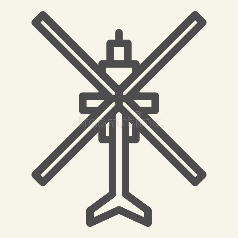 De lijnpictogram van de helikopter hoogste mening Luchtvaart vectordieillustratie op wit wordt geïsoleerd Het de stijlontwerp van stock illustratie