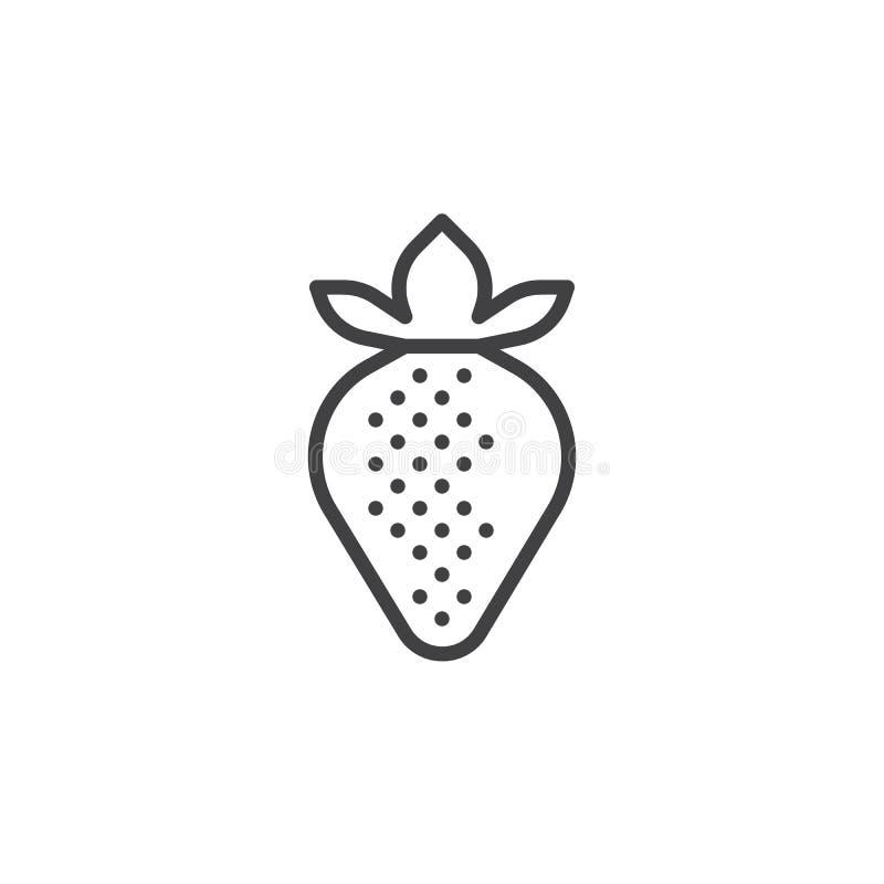 de lijnpictogram van het aardbeifruit stock illustratie