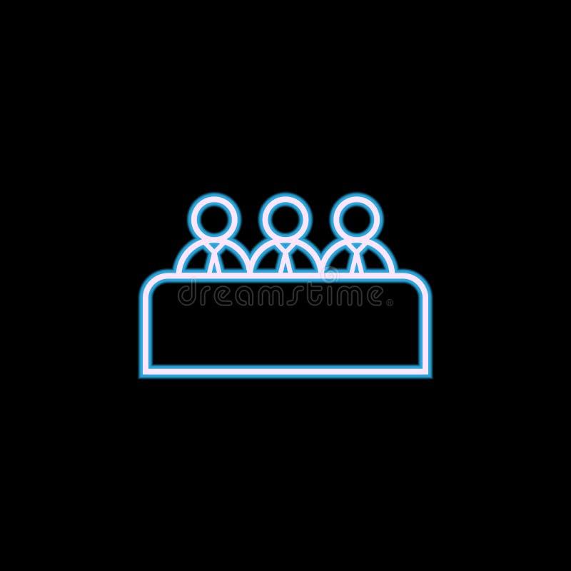 de lijnpictogram van het baangesprek in neonstijl Één van het Koppensnellen, u-inzamelingspictogram kan voor UI, UX worden gebrui royalty-vrije illustratie