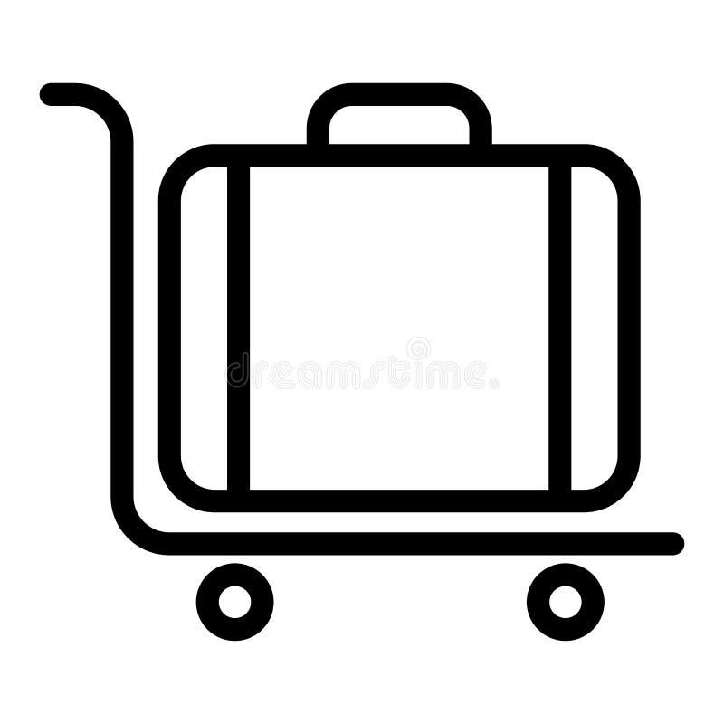 De lijnpictogram van het bagagekarretje Kruiwagen voor de vectordieillustratie van het ladingsvervoer op wit wordt geïsoleerd Sto stock illustratie