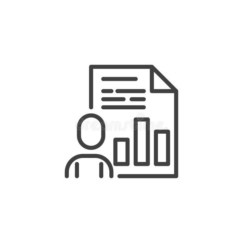 De lijnpictogram van het bedrijfspresentatiedocument vector illustratie