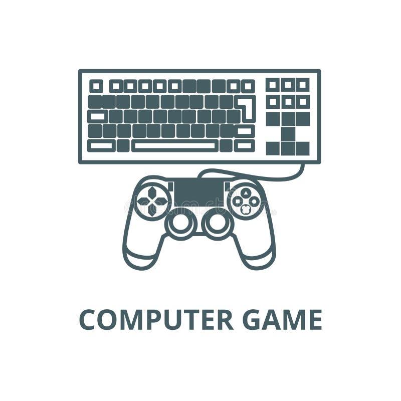 De lijnpictogram van het computerspel, vector Het overzichtsteken van het computerspel, conceptensymbool, vlakke illustratie royalty-vrije illustratie
