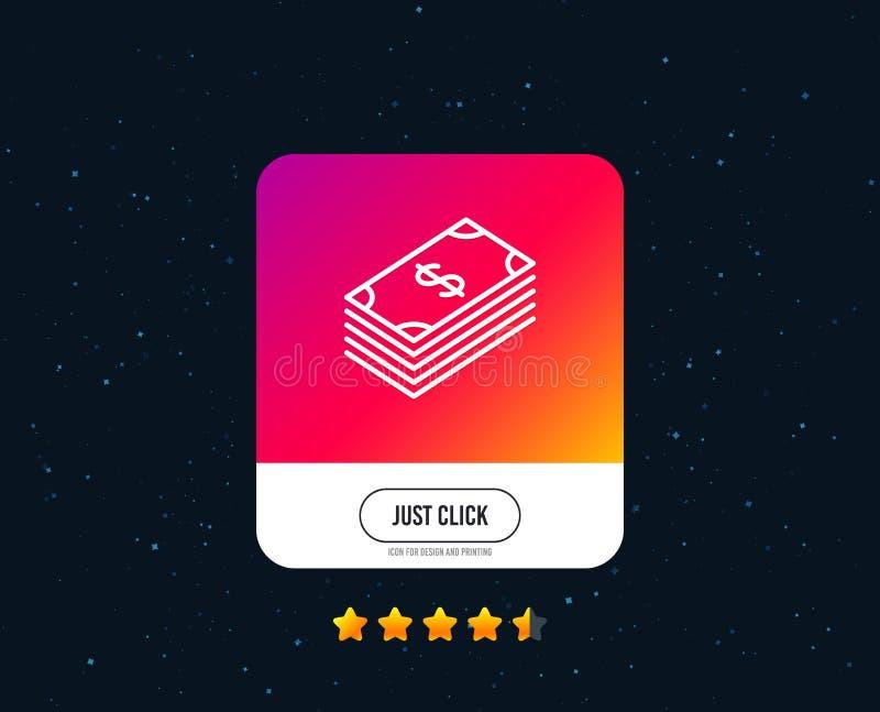 De lijnpictogram van het contant geldgeld Bankwezenmunt Vector stock illustratie