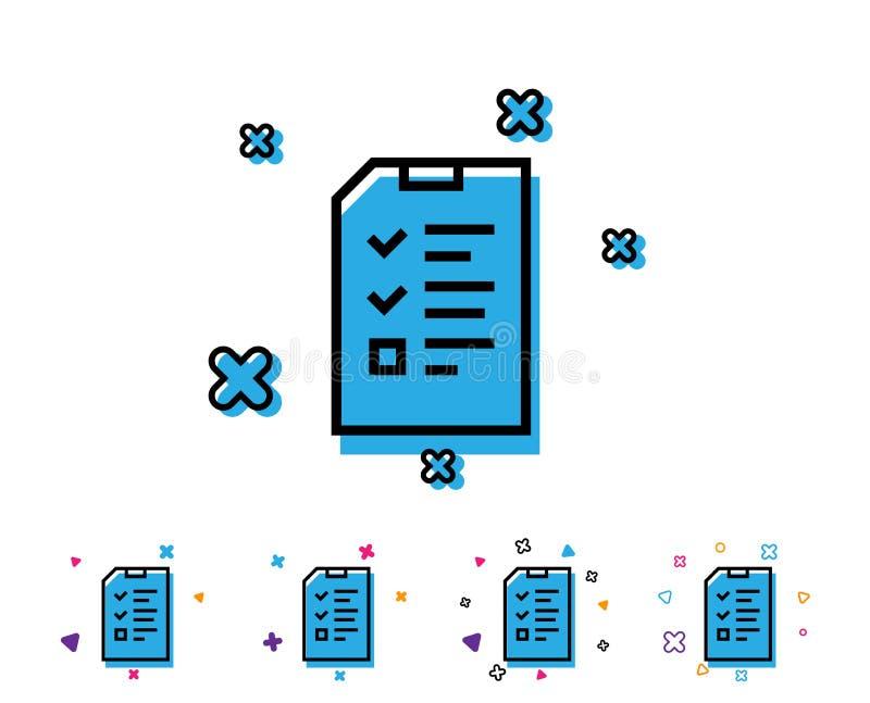 De lijnpictogram van het controlelijstdocument Dossierteken stock illustratie