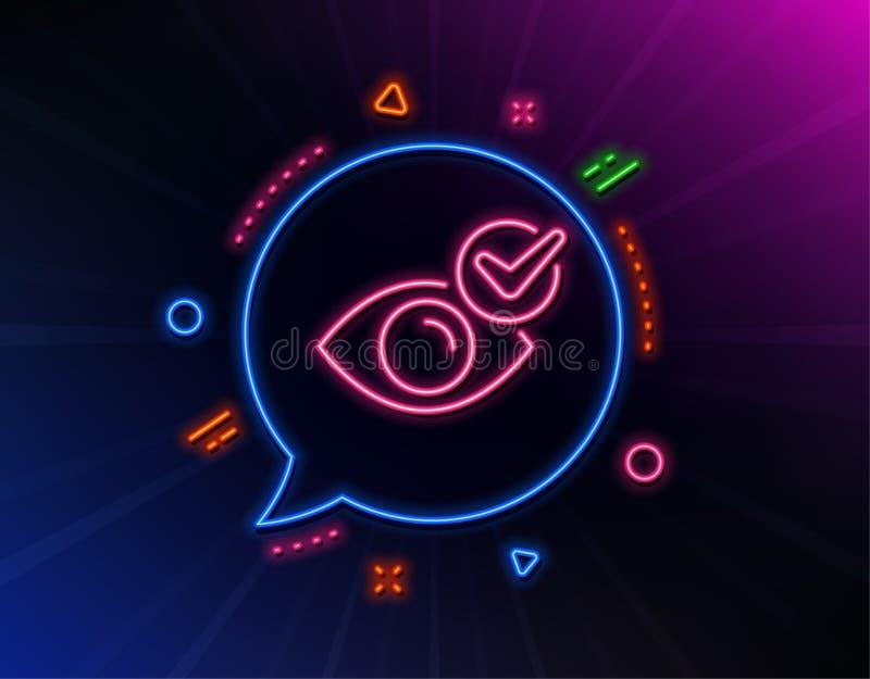 De lijnpictogram van het controleoog Het teken van de oogartskliniek Optometrievisie Vector royalty-vrije illustratie