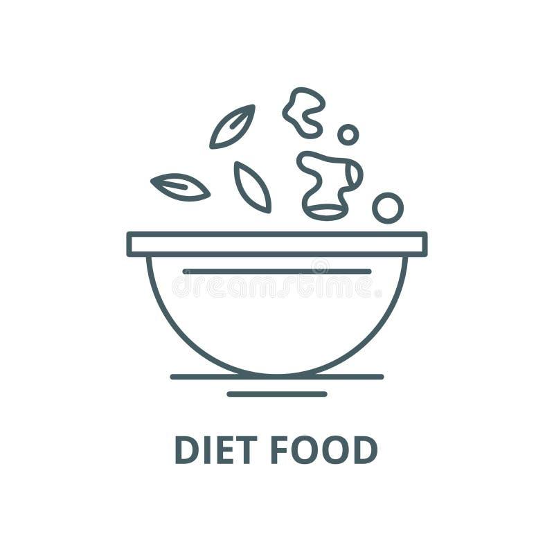 De lijnpictogram van het dieetvoedsel, vector Het overzichtsteken van het dieetvoedsel, conceptensymbool, vlakke illustratie royalty-vrije illustratie