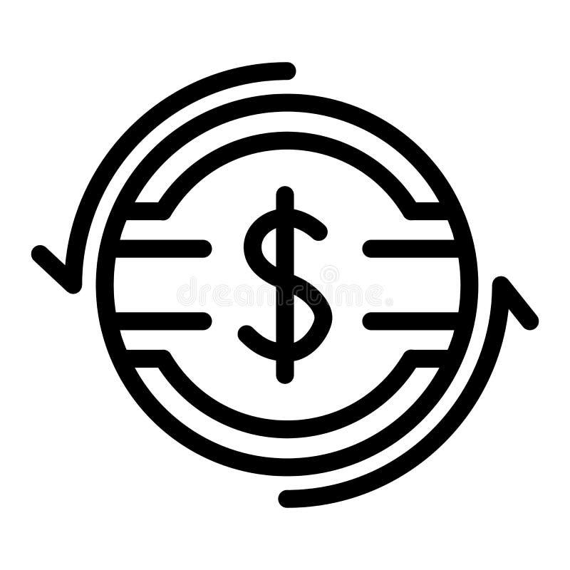 De lijnpictogram van het dollartarief Dollarmuntstuk met pijlen vectordieillustratie op wit wordt geïsoleerd Het overzichtsstijl  stock illustratie