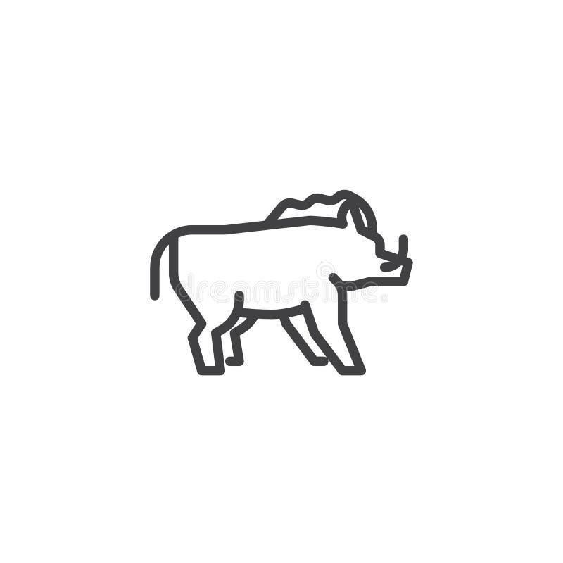 De lijnpictogram van het everzwijn zijaanzicht vector illustratie