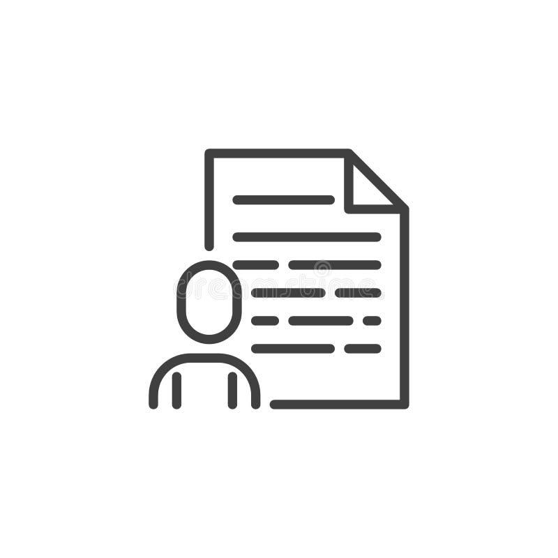 De lijnpictogram van het gebruikersprofiel royalty-vrije illustratie