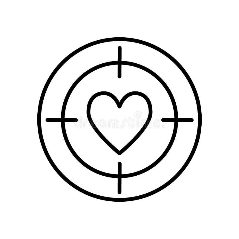De lijnpictogram van het hartdoel, overzichts vectorteken, lineair die stijlpictogram op wit wordt ge?soleerd Doel met hartsymboo vector illustratie