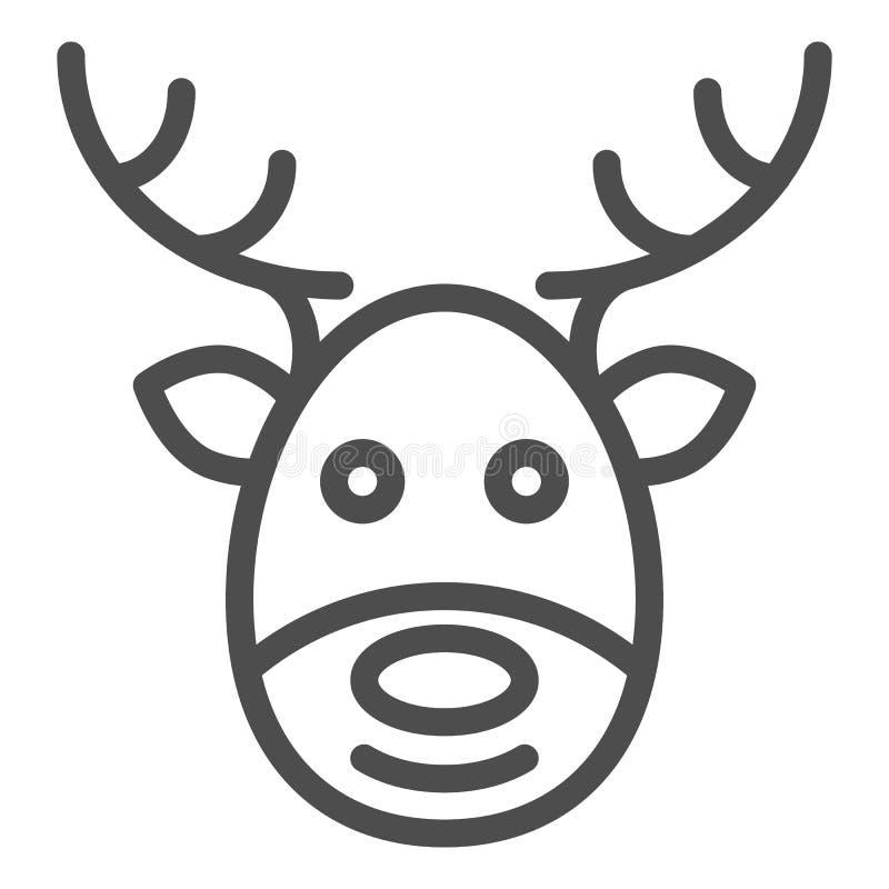 De lijnpictogram van het hertengezicht Raindeer vectordieillustratie op wit wordt geïsoleerd Het ontwerp van de het overzichtssti royalty-vrije illustratie