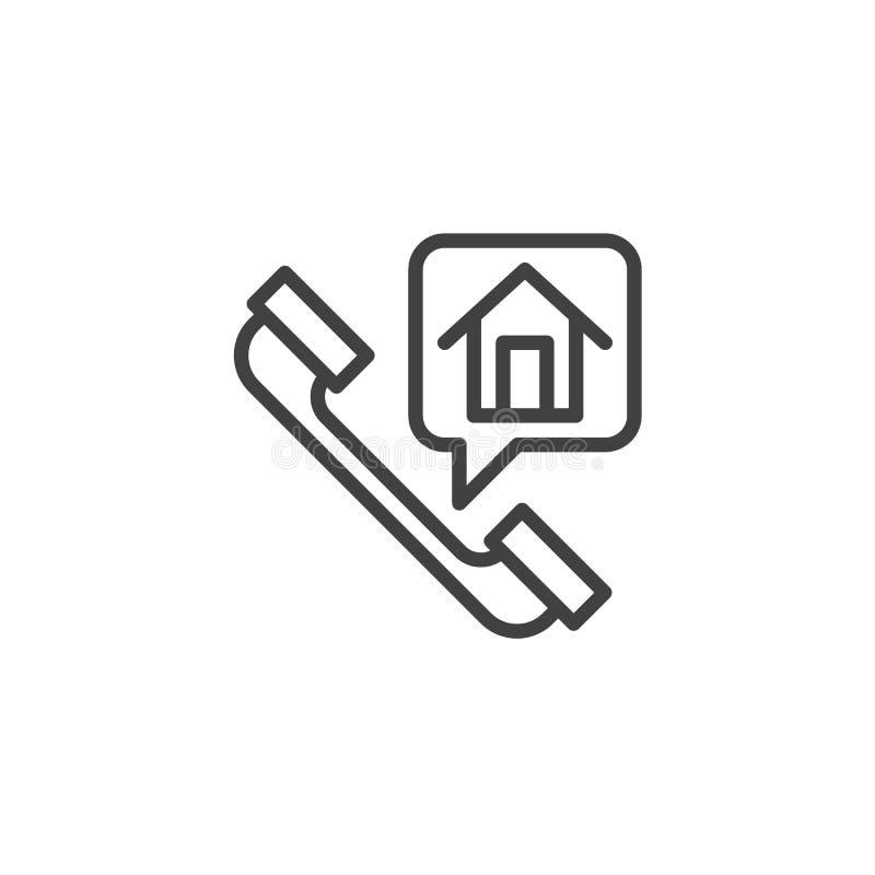 De lijnpictogram van het huistelefoongesprek royalty-vrije illustratie