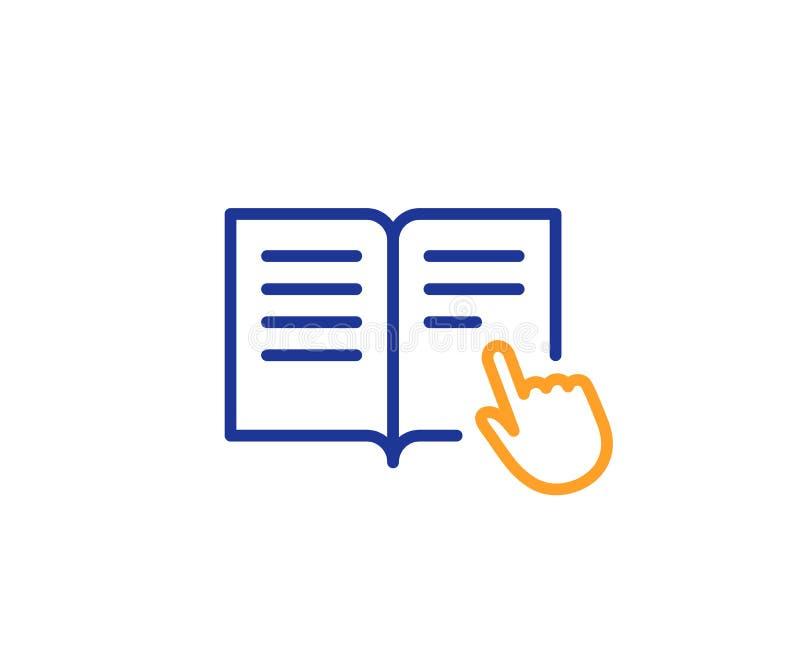 De lijnpictogram van het instructieboek Onderwijssymbool Vector stock illustratie
