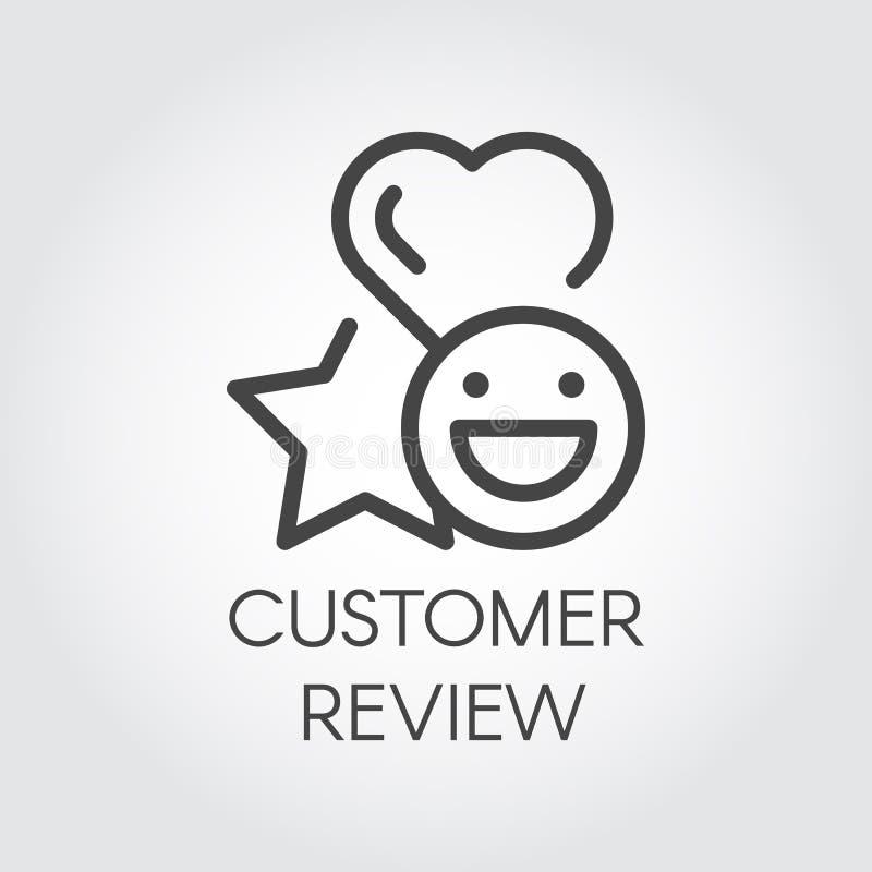 De lijnpictogram van het klantenoverzicht Ster, hart en van de emotiesglimlach tekens Evaluatie van de dienst, sticker voor praat royalty-vrije illustratie