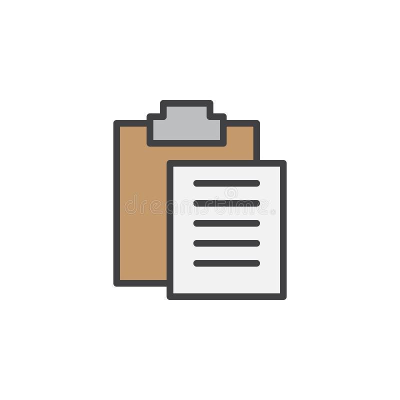 De lijnpictogram van het klemborddeeg, gevuld overzichts vectorteken, lineair kleurrijk die pictogram op wit wordt geïsoleerd stock illustratie