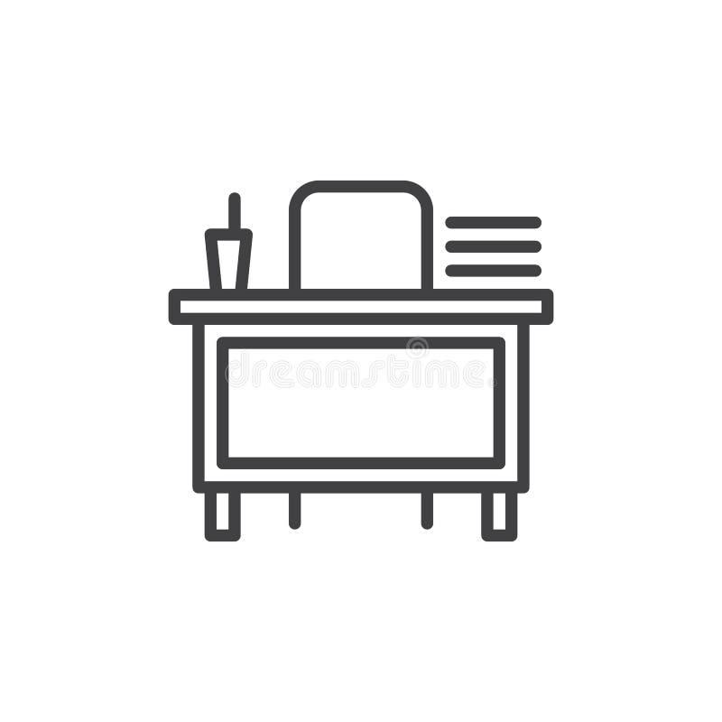 De lijnpictogram van het leraarsbureau stock illustratie