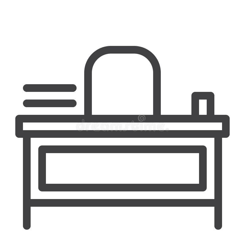 De lijnpictogram van het leraarsbureau vector illustratie