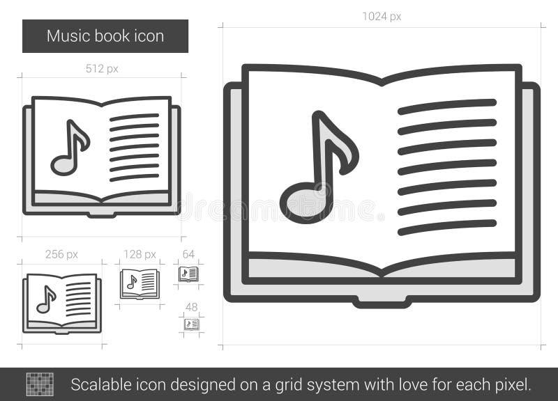 De lijnpictogram van het muziekboek royalty-vrije illustratie