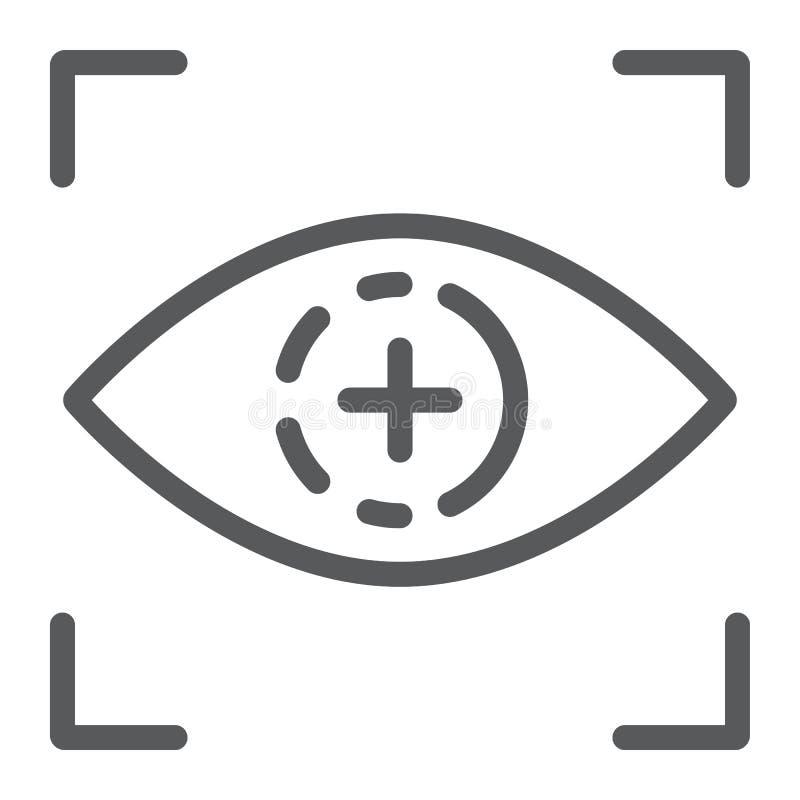 De lijnpictogram van het oogaftasten, toegang en identificatie, het teken van het retinaaftasten, vectorafbeeldingen, een lineair royalty-vrije illustratie