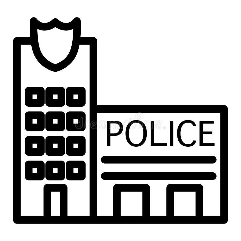 De lijnpictogram van het politiebureau Politiebureauillustratie op wit wordt geïsoleerd dat De stijlontwerp van het de bouwoverzi royalty-vrije illustratie