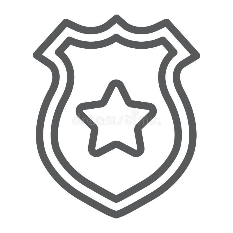 De lijnpictogram van het politiekenteken, politie en sheriff, het teken van het ambtenarenkenteken, vectorafbeeldingen, een linea vector illustratie