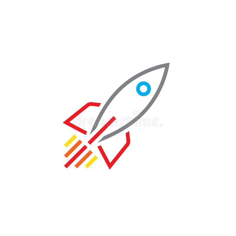 De lijnpictogram van het raketschip, overzichts vectorembleem, lineair pictogram royalty-vrije illustratie