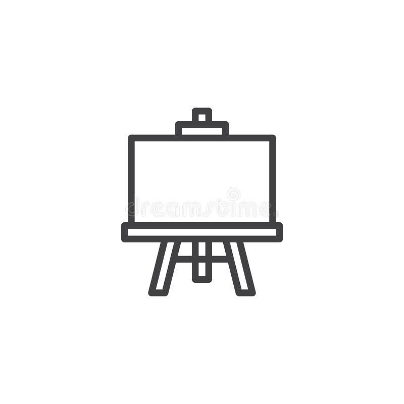 De lijnpictogram van het schoolbord stock illustratie