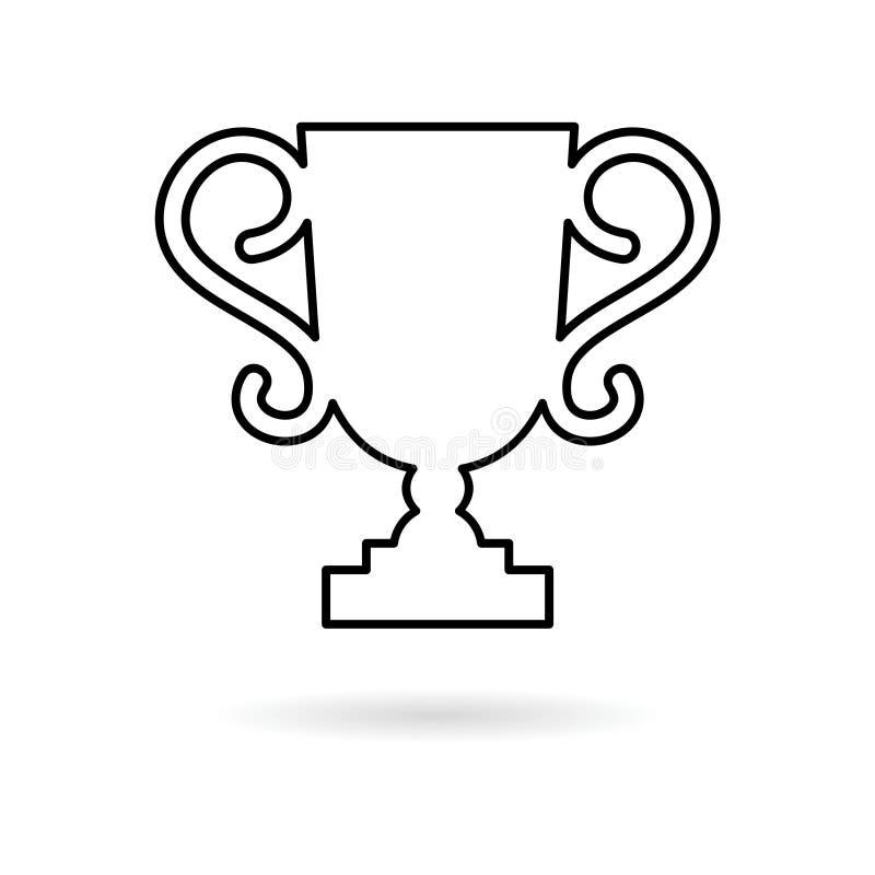 De lijnpictogram van het trofeeteken, Trofeekop, toekenning stock illustratie