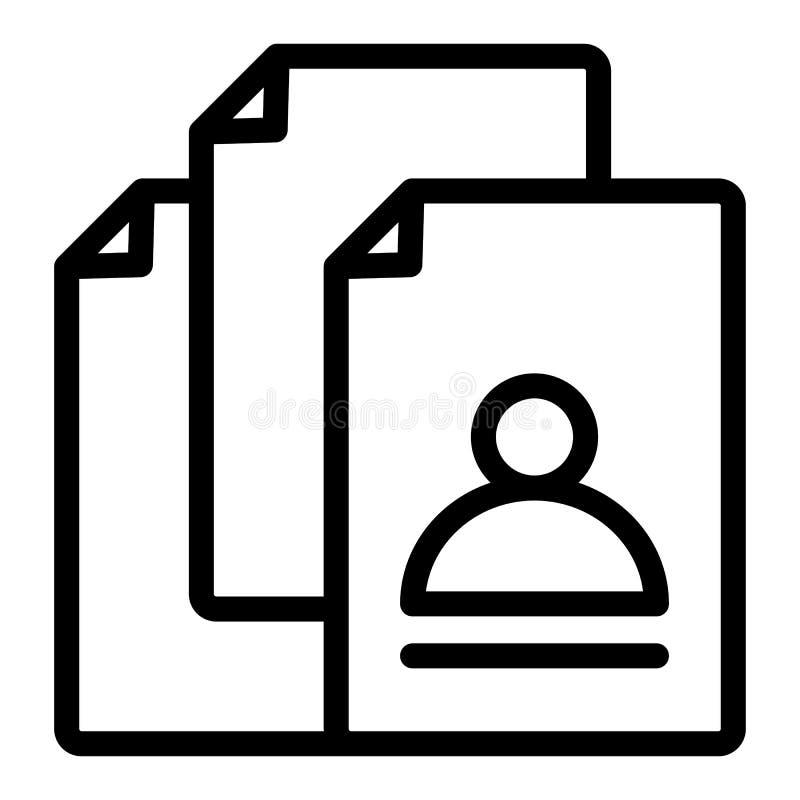 De lijnpictogram van het vacatureonderzoek Hurend vectordieillustratie op wit wordt geïsoleerd Het ontwerp van de het overzichtss vector illustratie
