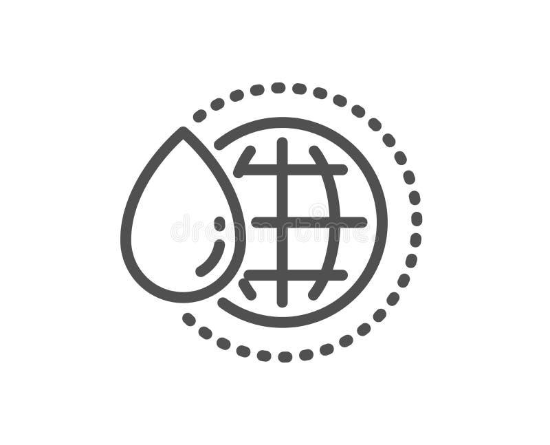 De lijnpictogram van het wereldwater Het schone teken van de aquadaling Vector stock illustratie