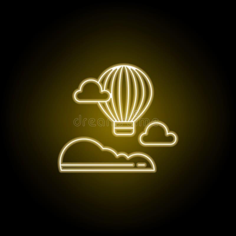 De lijnpictogram van de hete luchtballon in gele neonstijl Element van landschappenillustratie Tekens en symbolen het lijnpictogr stock illustratie