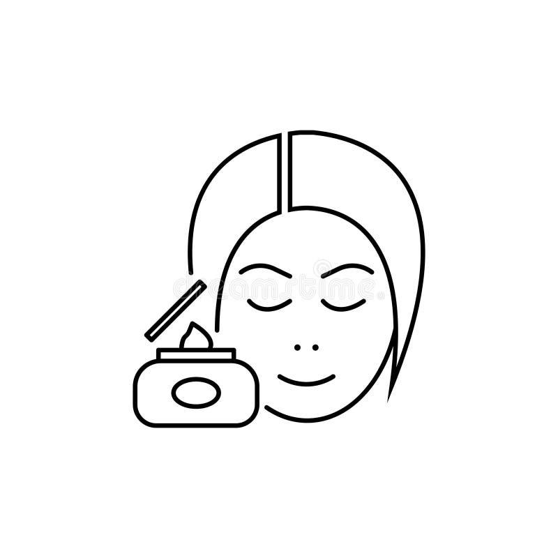 De lijnpictogram van de huidzorg, kosmetische room, vrouw royalty-vrije illustratie
