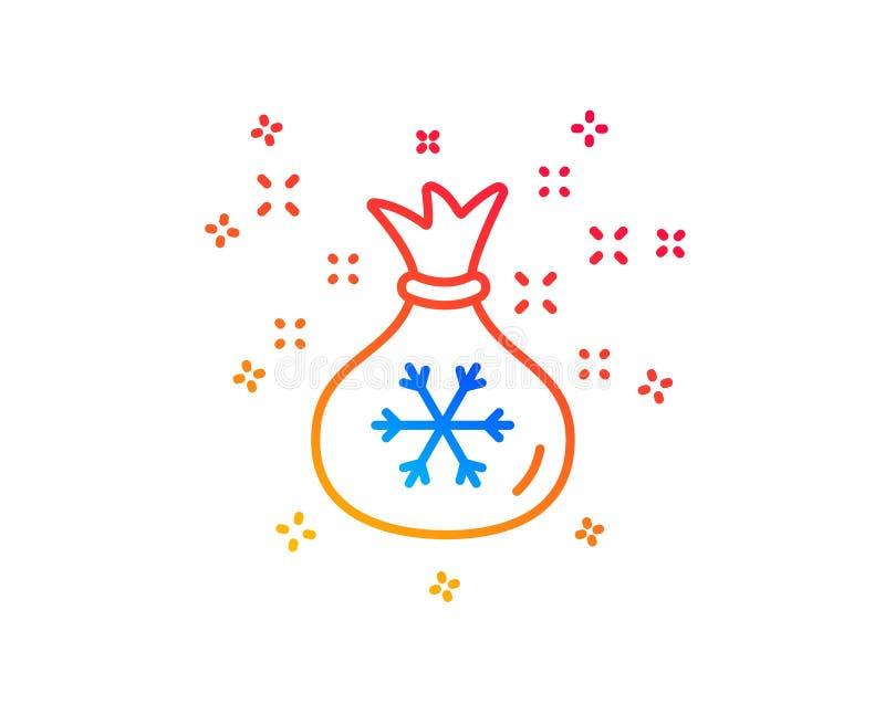 De lijnpictogram van de kerstmanzak Kerstmis of Nieuw jaarteken Vector vector illustratie