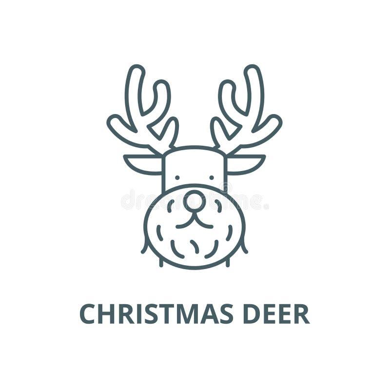 De lijnpictogram van Kerstmisherten, vector Het overzichtsteken van Kerstmisherten, conceptensymbool, vlakke illustratie stock illustratie