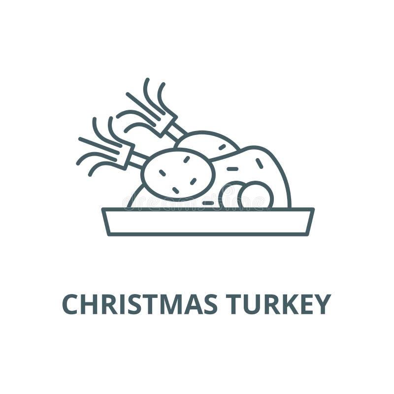 De lijnpictogram van Kerstmisturkije, vector Het overzichtsteken van Kerstmisturkije, conceptensymbool, vlakke illustratie royalty-vrije illustratie