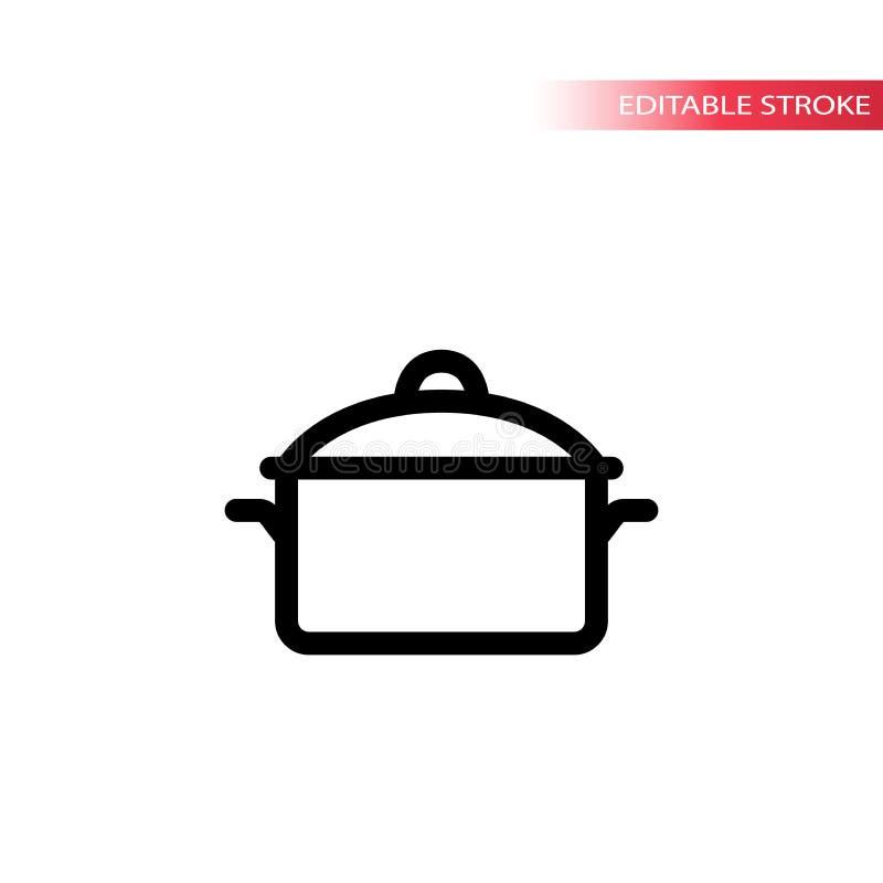 De lijnpictogram van de keukenpeul De steelpanpictogram van de braadpan zwart slag royalty-vrije illustratie