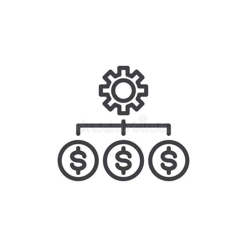 De lijnpictogram van de kostenoptimalisering vector illustratie