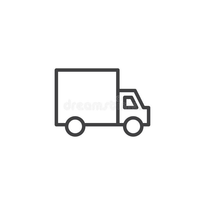 De lijnpictogram van de leveringsvrachtwagen vector illustratie