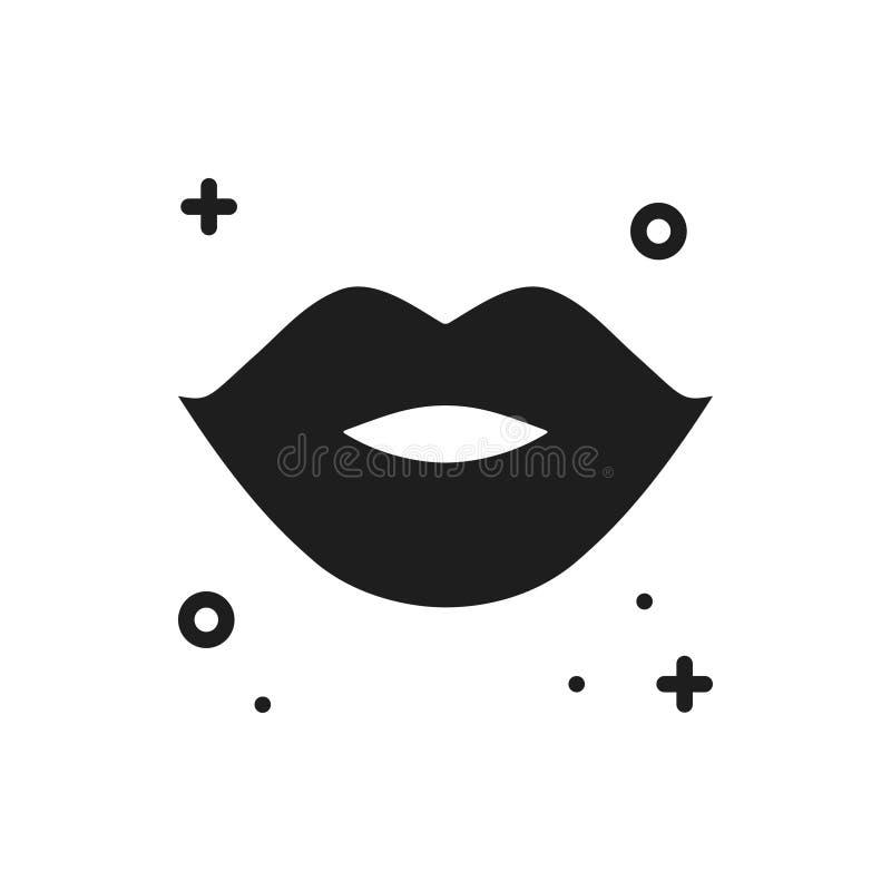 De lijnpictogram van de lippenkus De contourteken en symbool van vrouwenlippen Romantisch de tatoegeringsthema van de liefdeverho vector illustratie