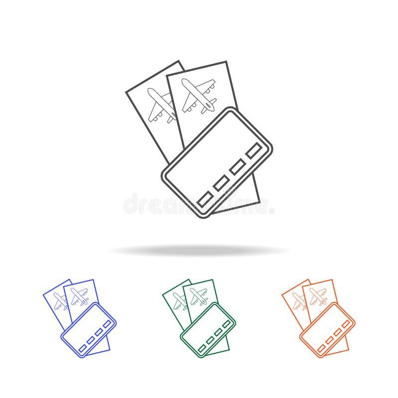 de lijnpictogram van luchtkaartjes Elementen van reis in multi gekleurde pictogrammen Grafisch het ontwerppictogram van de premie royalty-vrije illustratie
