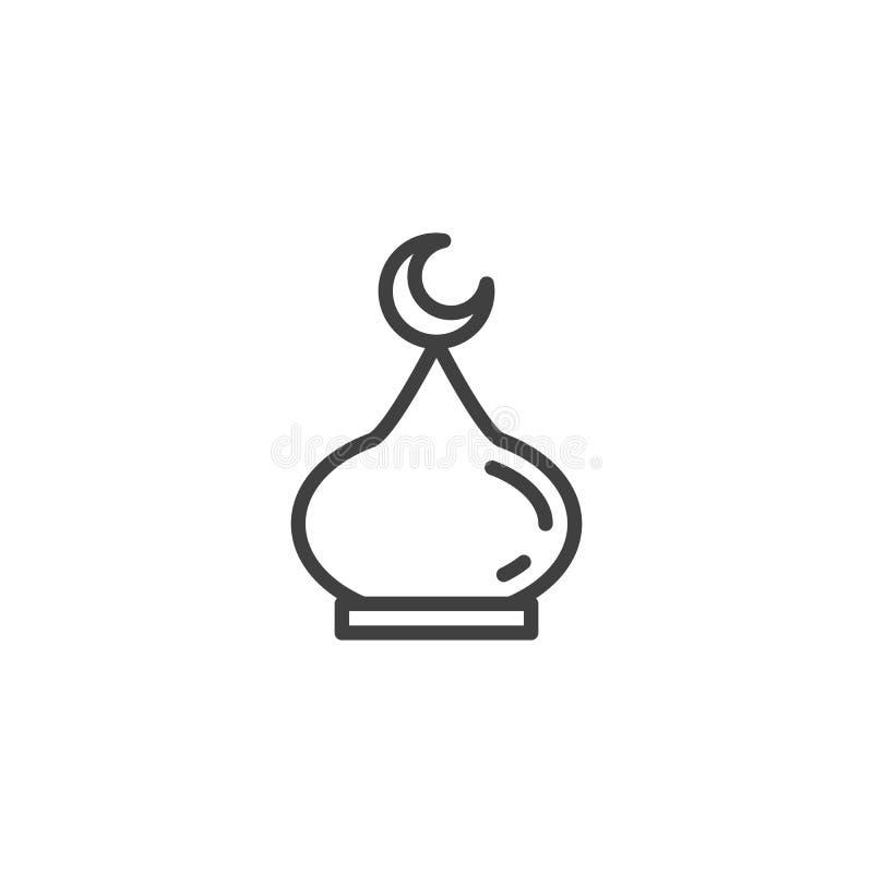 De lijnpictogram van de moskeekoepel vector illustratie