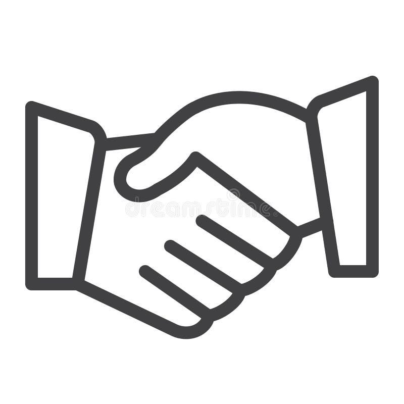 De lijnpictogram van de overeenkomstenhanddruk stock illustratie