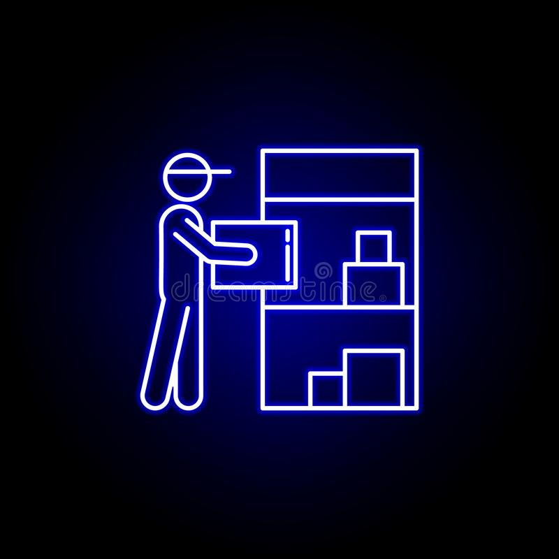 de lijnpictogram van de pakhuislader in blauwe neonstijl Reeks pictogrammen van de logistiekillustratie De tekens, symbolen kunne stock illustratie