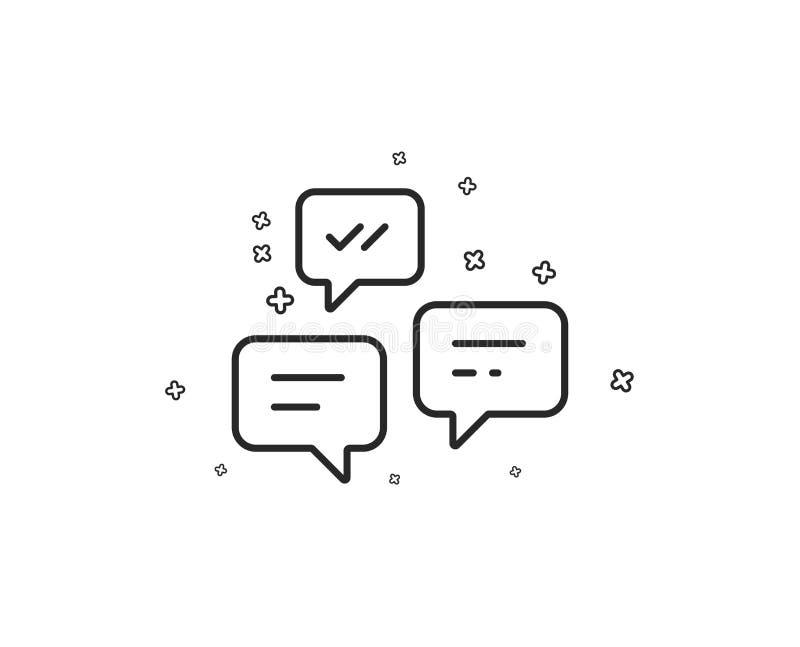 De lijnpictogram van praatjeberichten Gesprek of SMS Vector royalty-vrije illustratie