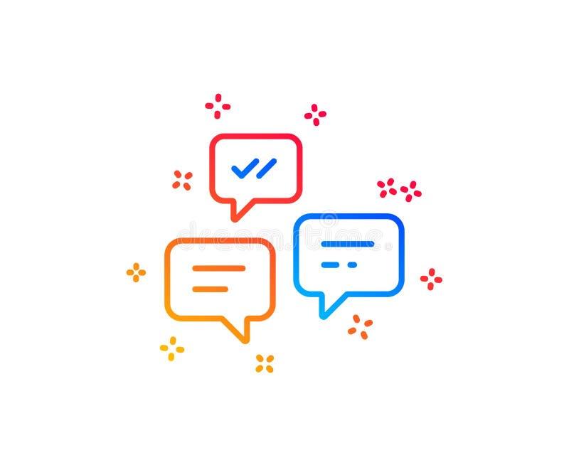 De lijnpictogram van praatjeberichten Gesprek of SMS Vector vector illustratie