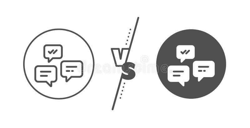 De lijnpictogram van praatjeberichten Gesprek of SMS Vector stock illustratie